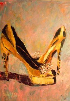 Ruthie by Sandy Welch Fashion Prints, Fashion Art, All About Me Art, Art Addiction, Beauty Illustration, Shades Of Gold, Art Themes, Shoe Art, Painted Shoes