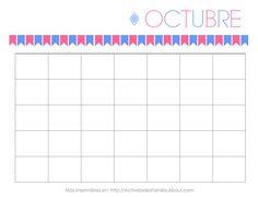 Calendarios Personalizables para imprimir y organizar tu mes: Calendario de Octubre
