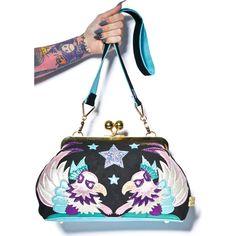 Irregular Choice Soar Purse ($115) ❤ liked on Polyvore featuring bags, handbags, white bags, metallic handbags, white purse, metallic bag and velvet handbag