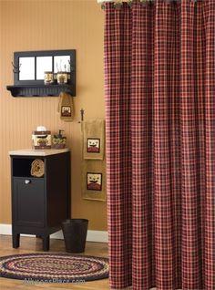Park Designs Abbott Shower Curtain, 72 x Cute Curtains, Country Curtains, Primitive Home Decorating, Primitive Decor, Primitive Shower Curtains, Taupe Walls, Country Baths, Primitive Bathrooms, Shower Curtain Hooks