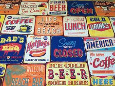 Designer American Diner Dining Food Kitchen Print Curtain Fabric Blinds Cushions
