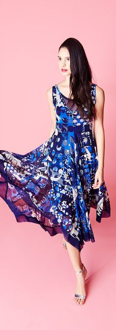 Give them something to talk about in vivid print dresses from Fuzzi. #SaksStyle
