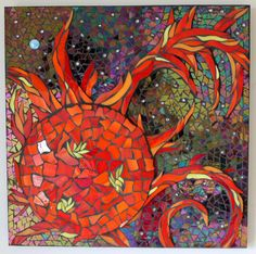 Stained Glass Mosaic Sun, Earth, Cosmos, Space, Solar Flares, Red, Orange, Yellow. $350.00, via Etsy.