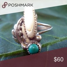 Vintage Turquoise and mother of pearl ring. Vintage Sterling silver Turquoise and mother of pearl with leaf on the side ring. Size 8.5 Jewelry Rings