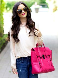 A big and bold bag is the best way to add color to your look: http://www.bhg.com/beauty-fashion/fashion/2014-spring-accessories-blogger-roundup/?socsrc=bhgpin071814bigandbold&page=4