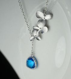 Sapphire orchid necklace  Sapphire blue stone and by arbjewelry, $19.00