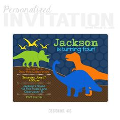 Dinosaur Invitations, Dinosaur Birthday Party Invitations, personalized thank you cards, birthday invitations, party invitations / No.416 by PinkPickleParties on Etsy https://www.etsy.com/listing/109217853/dinosaur-invitations-dinosaur-birthday