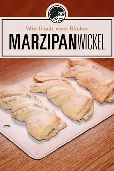Danish pastry / marzipan wrap- Why buy desserts in the bakery when you can easily make them yourself? Preparation time: 15 minutes / baking time: 15 minutes with batter Marzipan, Baking Recipes, Dessert Recipes, Desserts, Breakfast Recipes, Coconut Sweet Recipes, Easy Summer Meals, Cheesecake, How To Cook Ham