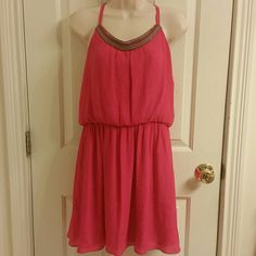 NWT IZ Byer Fuchsia Spaghetti Strap Dress NWT - IZ Byer fuchsia adjustable spaghetti strap dress. Elastic waistband. Multi-Color beading going across the front of neckline. Fully lined. Size X-Large in juniors. Iz Byer Dresses Midi