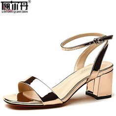 RUGAI-UE Sandales avec des talons hauts et des anneaux d'orteil, sandales pour dames, Noir, Trente-huit