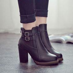 2018 New Women Boot Autumn Winter Short Boots Women High Heel Shoes Martin  Boots Women Ankle Boots Black Women Shoes 16229e68b80c