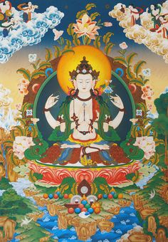 Join our course on Udemy for learning about the beauty of the mantra of compassion and love. Om Mani Padme Hum, Tibetan Art, Tibetan Buddhism, Mahayana Buddhism, Thangka Painting, 17th Century Art, Buddha Art, All Nature, Sacred Art