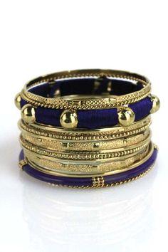 Royal Blue & Gold Stacking Bangle Set