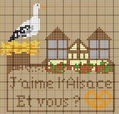France - country - l'alsace - point de croix - cross stitch - Blog : http://broderiemimie44.canalblog.com/