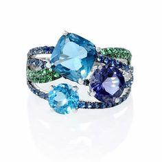 Blue Sapphire, Green Tourmaline, Iolite and Blue Topaz 18k White Gold and Black Rhodium Ring