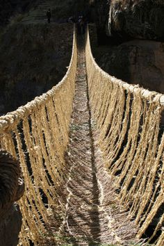 Cusco, Peru, Inca-rope-bridge. Is just to see... because to cross this bridge, no way!