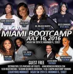 If you have not purchase your tickets for the Miami Bootcamp you are missing out!! It will be a wealth of information, total break down of the Compensation Plan, Products, Role Play, etc.. Here is the website.. Inbox me if you need more details..Log on to: www.worksherwealth.com to purchase your tickets... They are $25 each...