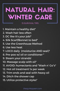 Top 15 tips to retain length and GROW your hair this winter!                                                                                                                                                      More #HairCareTips