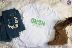 Irish For the Day Rhinestone  V-Neck Tee
