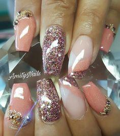 Nails , Nail Art Ballerina , Glow in the dark Color acrylic