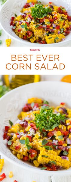 This Corn Salad is seriously delicious! 138 calories per serving and only 5 SP. The red pepper and fresh basil really make this recipe POP!  | Best Ever Corn Salad