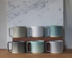 light blue handmade mug. modern mug with square handle by vitrifiedstudio READY MADE