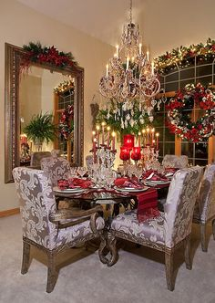 Decoration:Dazzling Christmas Decoration In Dining Room With Oval Glass Table Comfy Armchairs Large Mirror Steel Framed Glass Window Red Candles Glasswares Wreath Garland Ornaments Crystal Chandelier Festive Christmas Dining Room: With Lustrous baubles And Dazzling Christmas Tree