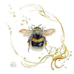 A fat little bumblebee, Stephanie Pui-Mun Law Bumble Bee Tattoo, Honey Bee Tattoo, Sister Tatto, Skull Tatto, I Love Bees, Bee Art, Insect Art, Bee Happy, Bees Knees