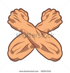 Two crossed hands clenched into a fist. black and white comic book illustration. gym icon