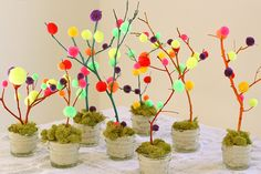Mini Easter Tree Tutorial - perfect for a spring fairy garden Easter Tree Decorations, Tree Centerpieces, Easter Gift, Easter Crafts, Crafts For Kids, Easter Ideas, Pom Pom Tree, Egg Tree, Diy Ostern