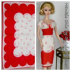 Cap sleeved OOAK Barbie dress made from vintage hankie by Sylvia Bittner
