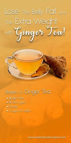 Ginger: Improves the digestion Boosts the metabolism Controls the diabetes Relieves sore muscles Ginger for losing weight Recipe for ginger tea Weight Loss Tea, Weight Loss Drinks, Lose Weight, Healthy Detox, Healthy Drinks, Healthy Weight, Easy Detox, Healthy Soup, Eat Healthy