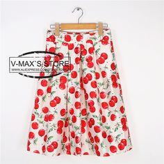 3 Colors New 2014 Spring Summer Women Skirt Fashion Fresh Cherry Print Pleated Midi Skater Skirts Saia For Women Girl 14614 $468,35