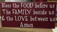Table prayer. Made with vinyl cricut letters on wood sign.