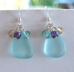 Sea Glass Jewelry Sky Blue Earrings by OceanCharmsSeaGlass on Etsy, $24.00