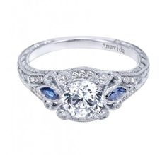 Platinum Pave Diamond and Sapphire Engagement Ring #vintage #antique inspired ring for a #Gatsby #wedding