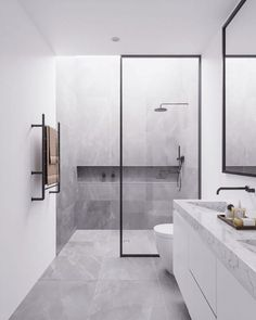 Minimal Interior Design Inspiration, modern bathroom design with modern shower, neutral gray bathroom decor Bathroom Design Luxury, Bathroom Layout, Modern Bathroom Design, Bathroom Ideas, Bathroom Vanities, Bathroom Renovations, Minimalist Bathroom Design, Ensuite Bathrooms, Luxury Bathrooms