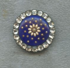 Antique Button - 1800's Gorgeous Foiled Enamel w/Rhinestone Border - Stunning! | eBay