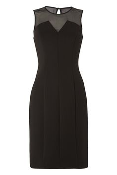 Simplicity at its best this LBD will do all the talking this party season. Made in a flattering scuba fabric designed to slim your silhouette and a glamorous mesh yoke panel with a deep v-neckline, team with heels and a clutch to complete your look. Dress length measures approximately 96cm to 99cm depending on size.