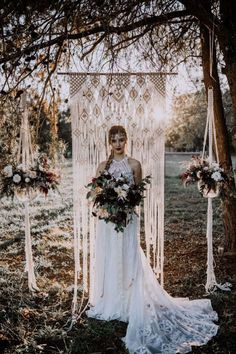 The Best Etsy Macramé Backdrops for Your Wedding | Junebug Weddings | 42″ x 90″ Macramé Backdrop by Moss Hound Designs