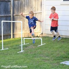 DIY American Ninja Warrior Backyard Obstacle Course – Frugal Fun For Boys and Girls – kids backyard Kids Ninja Warrior, Ninja Warrior Course, Kids American Ninja Warrior, American Ninja Warrior Obstacles, Backyard Obstacle Course, Kids Obstacle Course, Frugal, Ninja Birthday, 7th Birthday