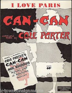 I LOVE PARIS - CAN-CAN 1950s SHEET MUSIC - COLE PORTER