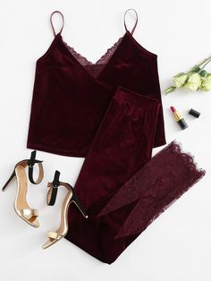 Shop Lace Trim Velvet Cami & Pants Pj Set online. SheIn offers Lace Trim Velvet Cami & Pants Pj Set & more to fit your fashionable needs.