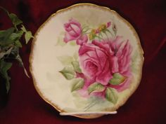 Absolutely Charming ONE OF SIX Hand Painted TEA ROSES Antique Limoges France Porcelain Fine Art Cabinet Plate Tressemann & Vogt T circa 1892 - 1907