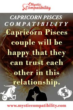 Capricorn Pisces couple will be happy that they can trust each other in this relationship. #Capricorn #Pisces #Relationship #Compatibility #Capricorn_Pisces #Relationship_Compatibility #CapricornPisces #RelationshipCompatibility #Zodiac_Signs Capricorn And Pisces Compatibility, Pisces Traits, Capricorn Love, Zodiac Capricorn, Pisces Relationship, Capricorn Relationships, Relationship Compatibility, Horoscope Signs, Zodiac Signs