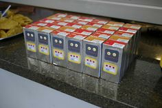Party drinks - robot juice boxes