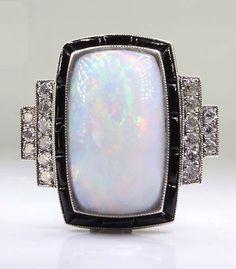 ANTIQUE ART DECO PLATINUM DIAMOND - OPAL & ONYX RING