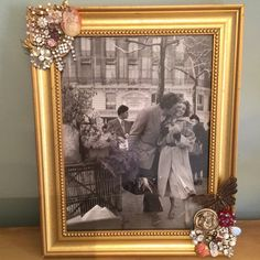 New 8 x 10 framed embellished w/ vintage jewelry Goldtone frame 8 x 10 Artist made..with vintage brooches earrings etc..will take request for other sizes..One of a kind Lucys frames Other