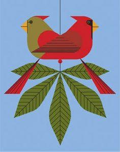 Charley Harper Prints | Cardinals Consorting