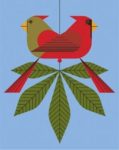 This print, stamped with the seal of the Estate of Charley Harper, shows a majestic red male cardinal consorting with his lover, a brown female cardinal. Description from charleyharper.com. I searched for this on bing.com/images